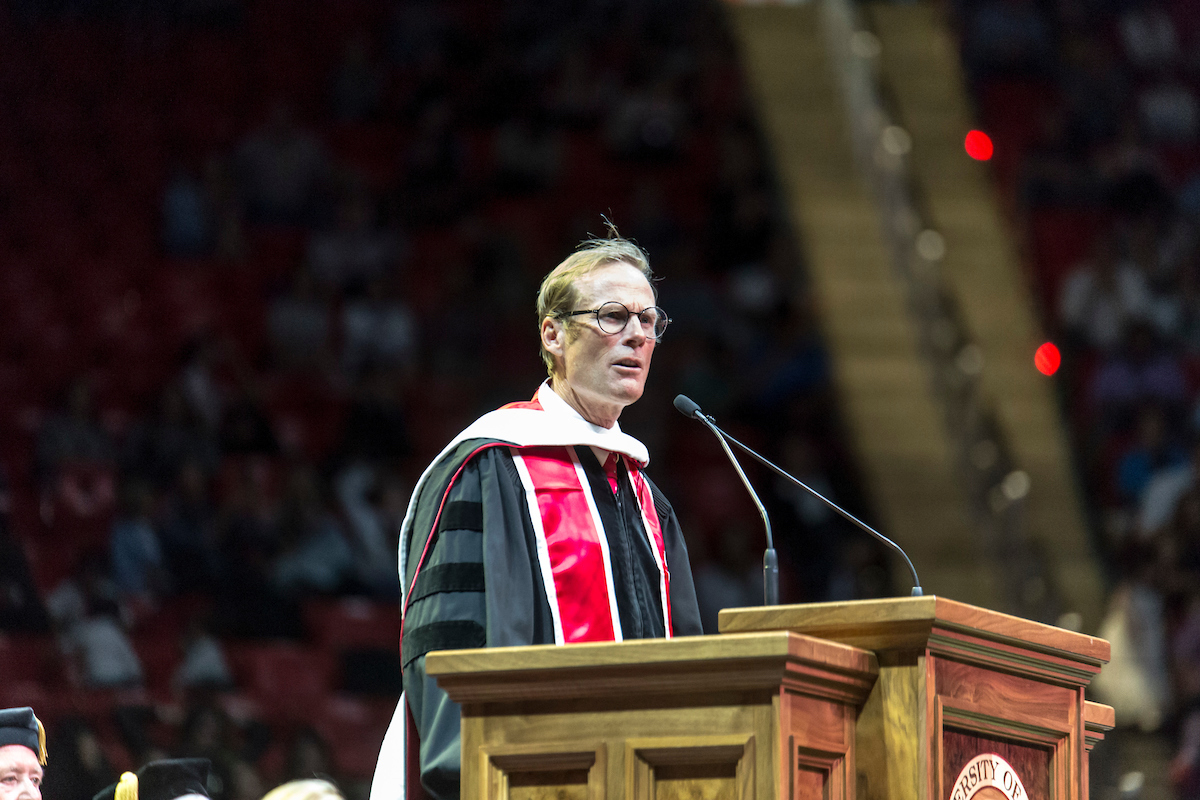 Conrad Anker delivers the University of Utah's graduation commencement speech on May 3. [Photo] University of Utah-Marketing and Communications