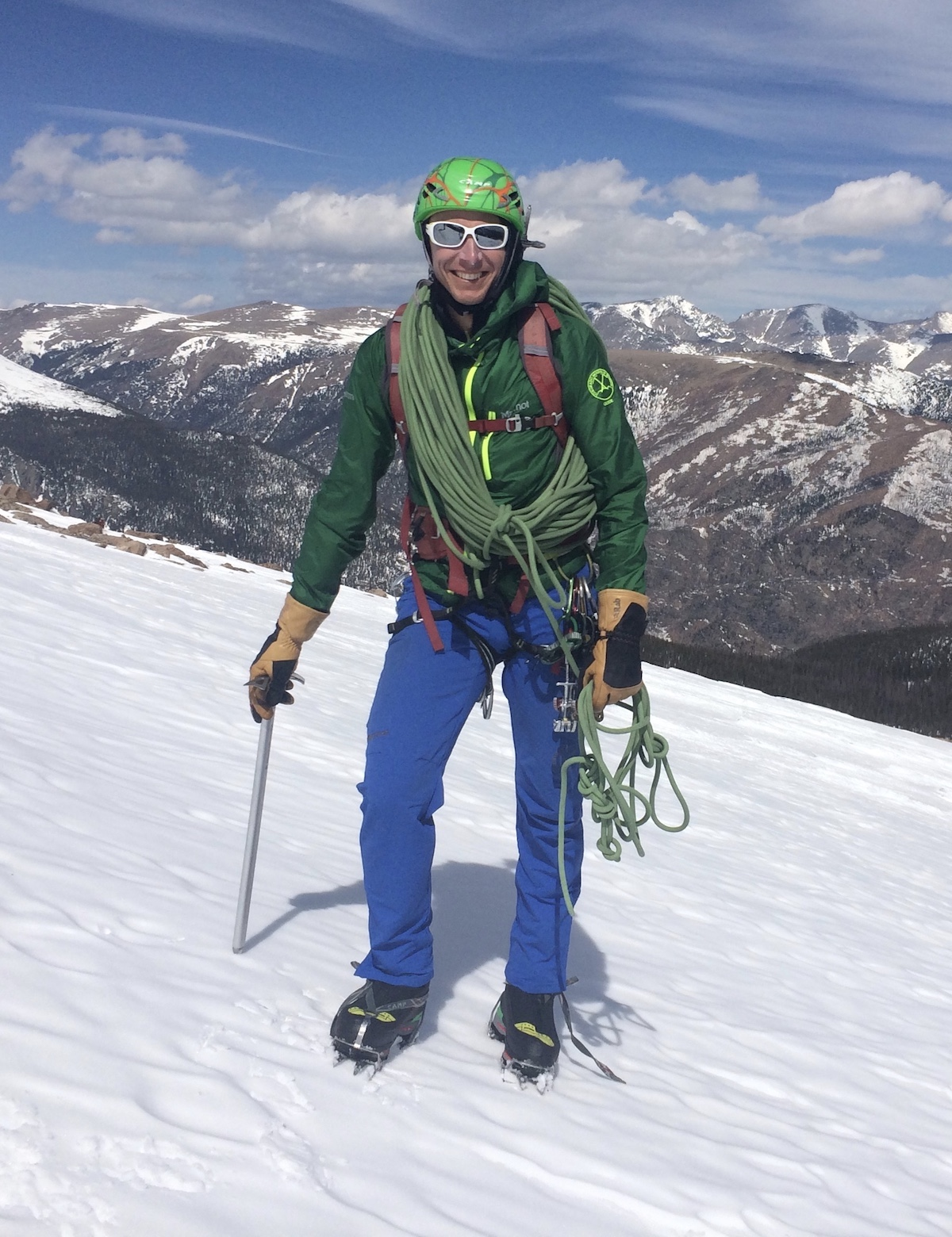 Mike Lewis wearing the Stetinds with crampons on Flattop Mountain, Rocky Mountain National Park, Colorado. [Photo] Mike Lewis collection