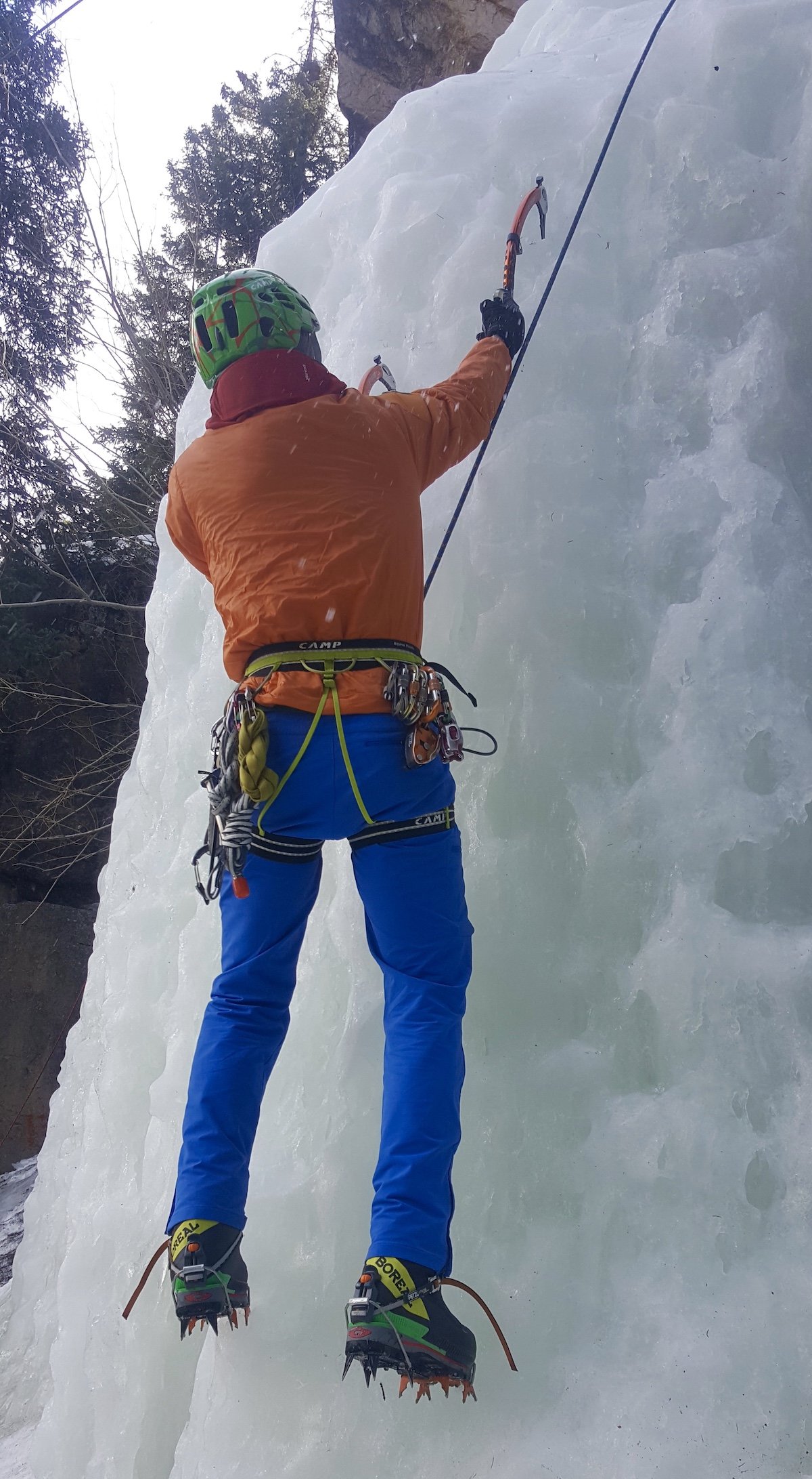 Lewis climbs vertical ice in Rocky Mountain National Park with the Boreal Stetinds. [Photo] Mike Lewis collection