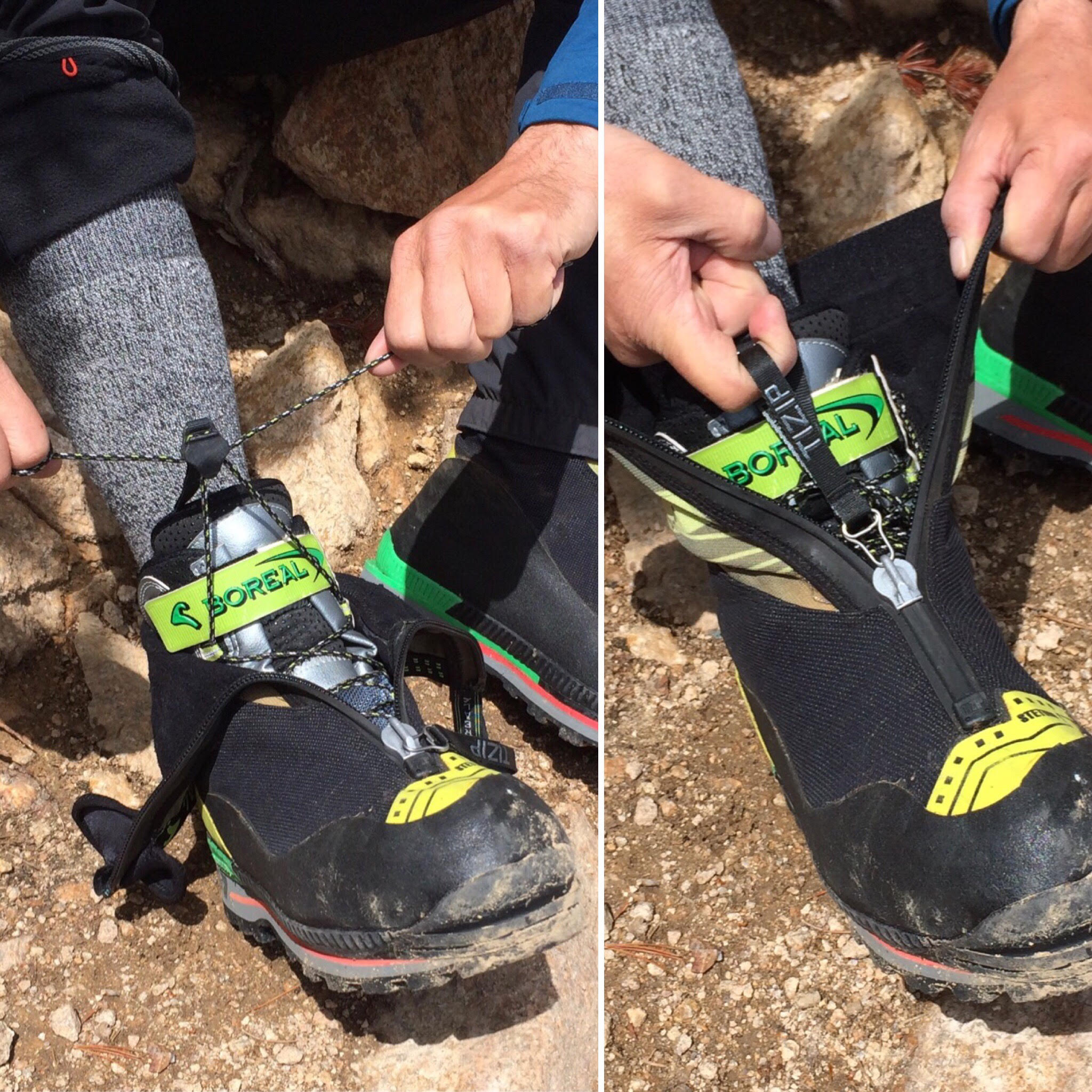 The Boreal Stetind has a simplified lacing system that is easy to use with gloves in cold conditions (left). The integrated gaiter closes with the TIZIP zipper (right). [Photos] Nick Direen