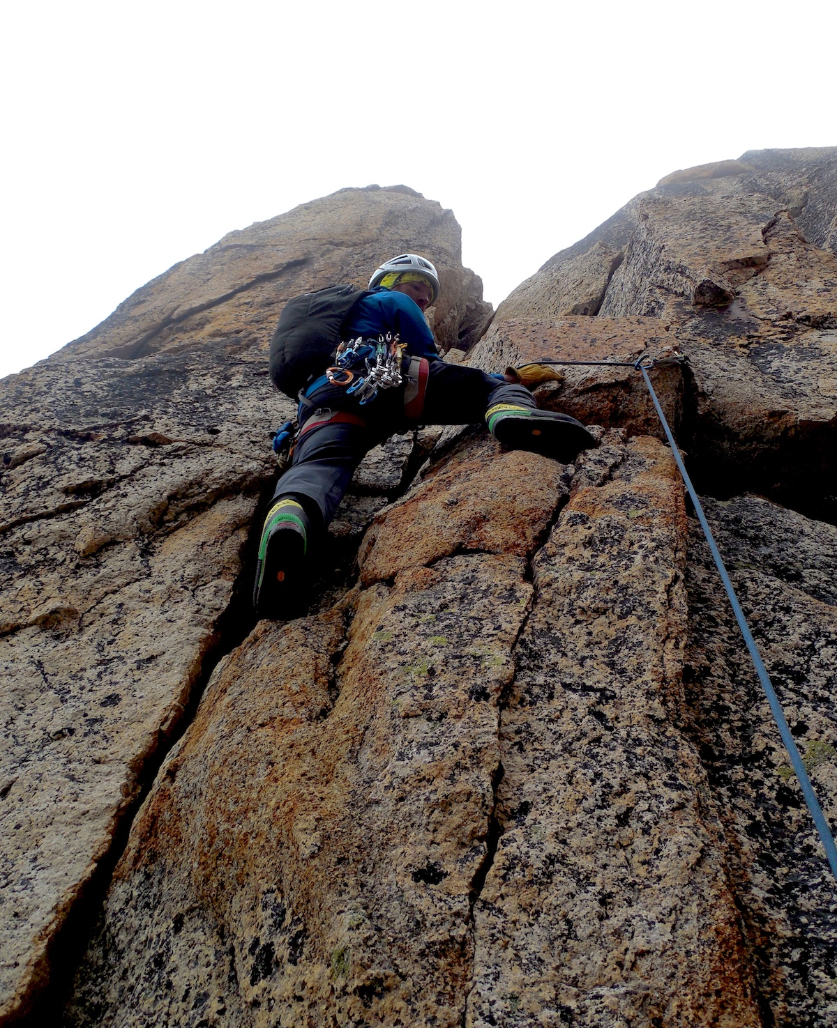 Mike Lewis leads a 5.7 pitch on the Beckey Route on Liberty Bell, Washington Pass, WA. [Photo] Nick Direen