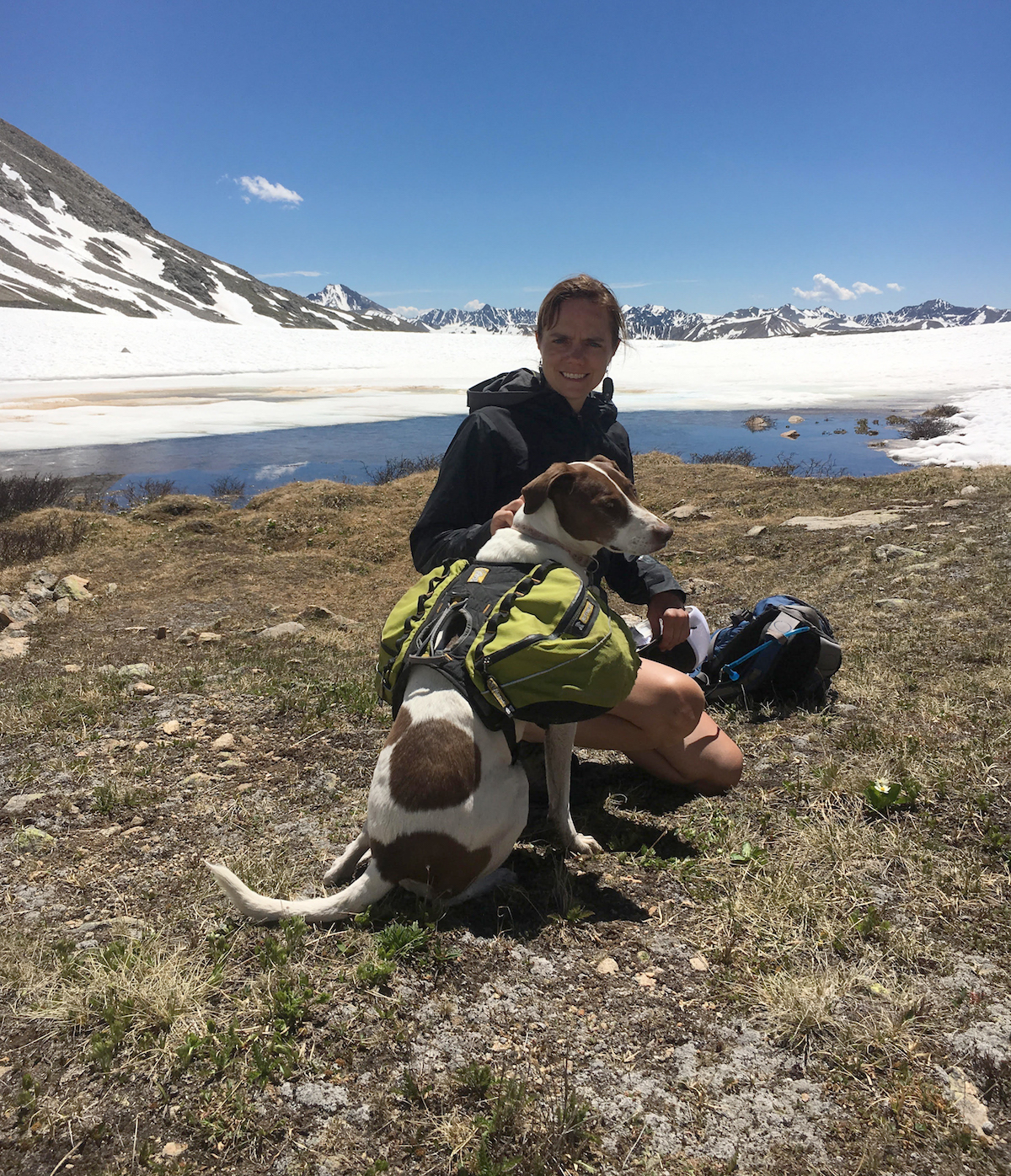 Mandi Franz explores the high country with Soleil the dog during an overnight trip on Independence Pass, Colorado. [Photo] Derek Franz