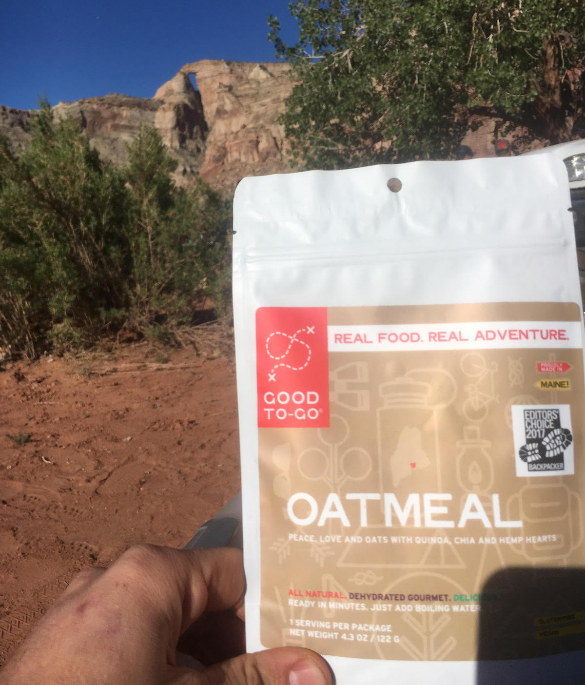 The oatmeal provided a fast and nutrition-packed breakfast before the author kayaked a 15-mile slot canyon in Utah during the spring runoff. [Photo] Derek Franz