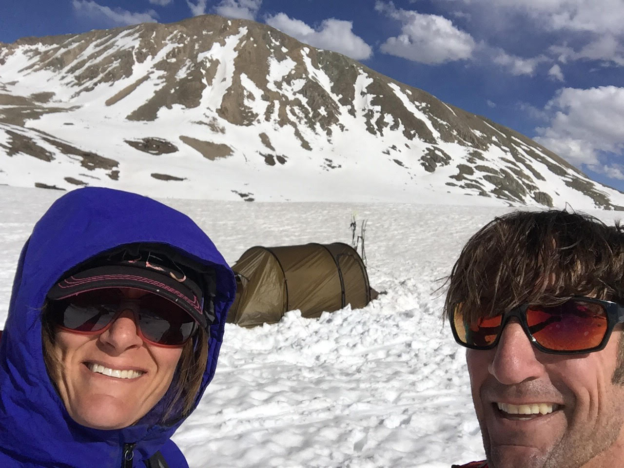 The author and her husband with the Hilleberg Nammatj 2 GT on a backcountry ski trip in Colorado. [Photo] Mary Harlan