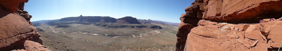This panorama from the top of Bridger Jack Butte shows part of Indian Creek's classic landscape that is currently protected by the 1.35-million-acre Bears Ears National Monument. Recent reports indicate that Interior Secretary Ryan Zinke has recommended President Donald Trump shrink Bears Ears and other national monuments. [Photo] Derek Franz