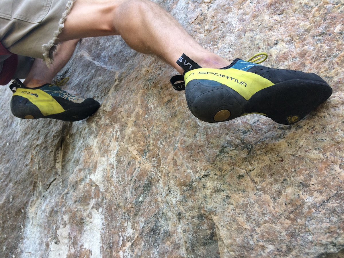 The La Sportiva Kataki shoes were made for routes like Scene of the Crime (5.12d) on Independence Pass, Colorado. [Photo] Mandi Franz