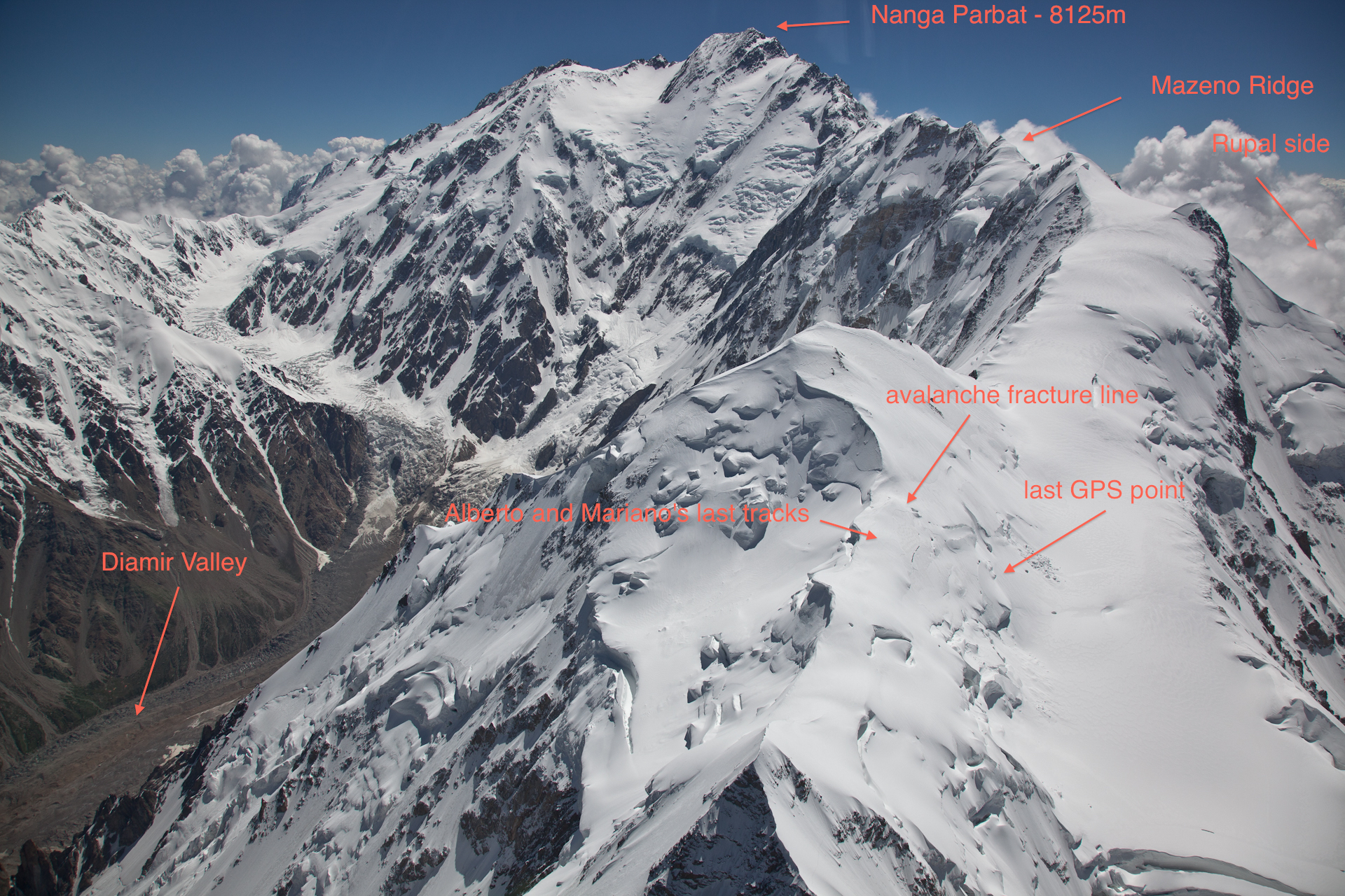 This photo taken during the helicopter search on July 1 shows where Mariano Galvan and Alberto Zerain disappeared on Nanga Parbat's Mazeno Ridge. [Photo] Alex Gavan