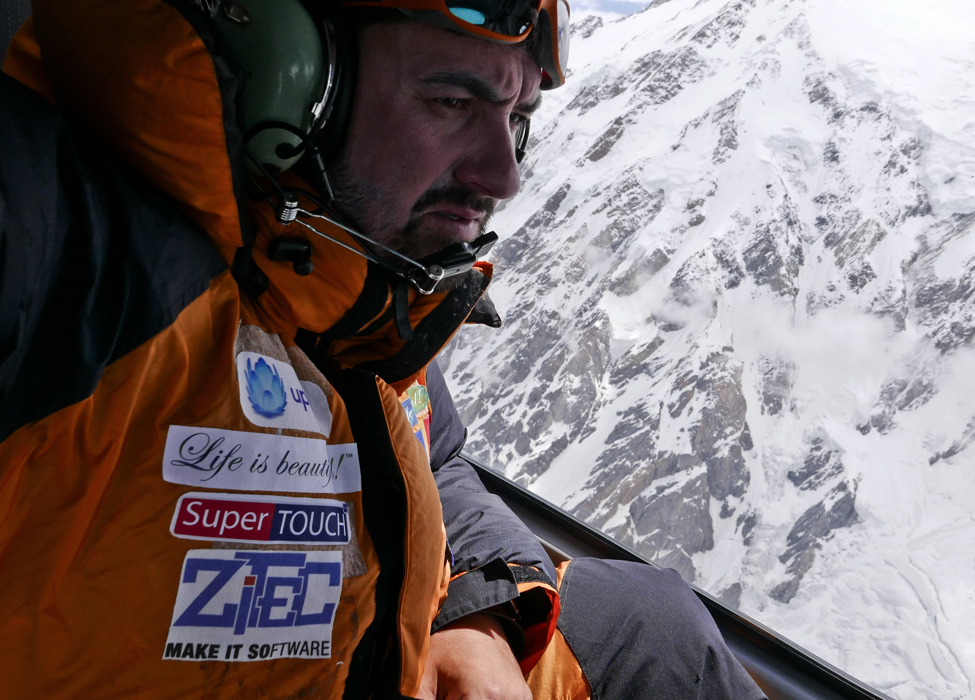Alex Gavan during the helicopter search mission. [Photo] Alex Gavan