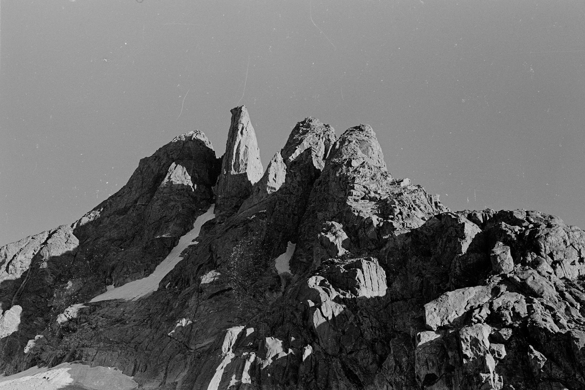Cutthroat Spire from our camp near Peak Lake. [Photo] Michael Kennedy