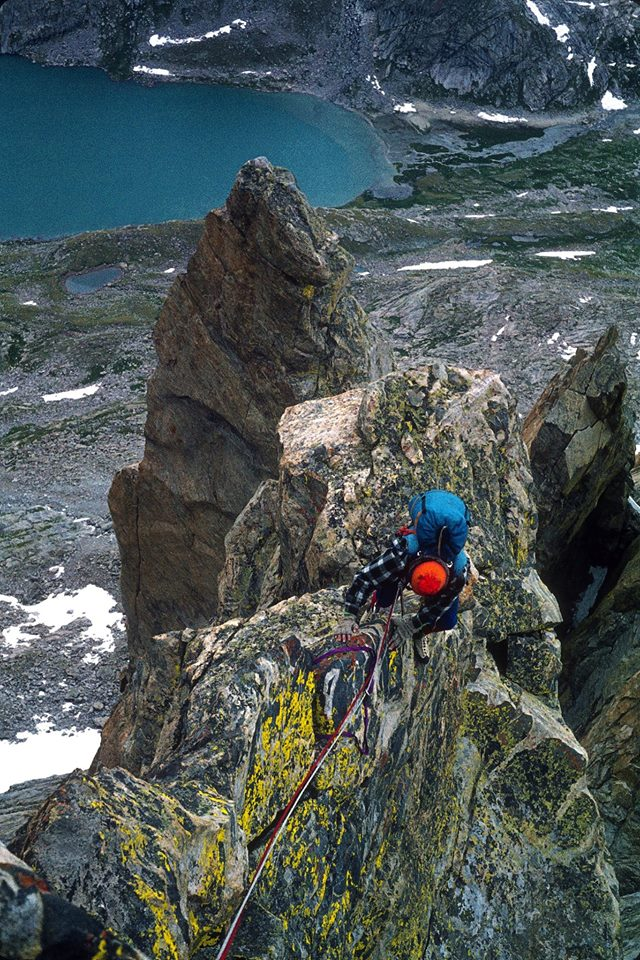Chris Landry on the West Face of Mount Sacajawea in the Titcomb Lakes area in 1976. [Photo] Michael Kennedy