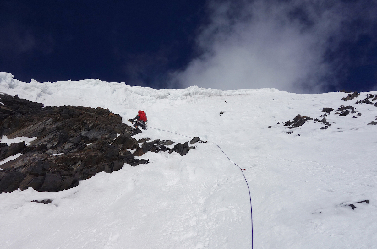 Mora leading on Praqpa Ri South (7046m), which was the team's primary objective for the trip but Montero had to leave after summiting Mirchi Peak, so Bosch and Mora continued as a team of two. [Photo] Andres Bosch