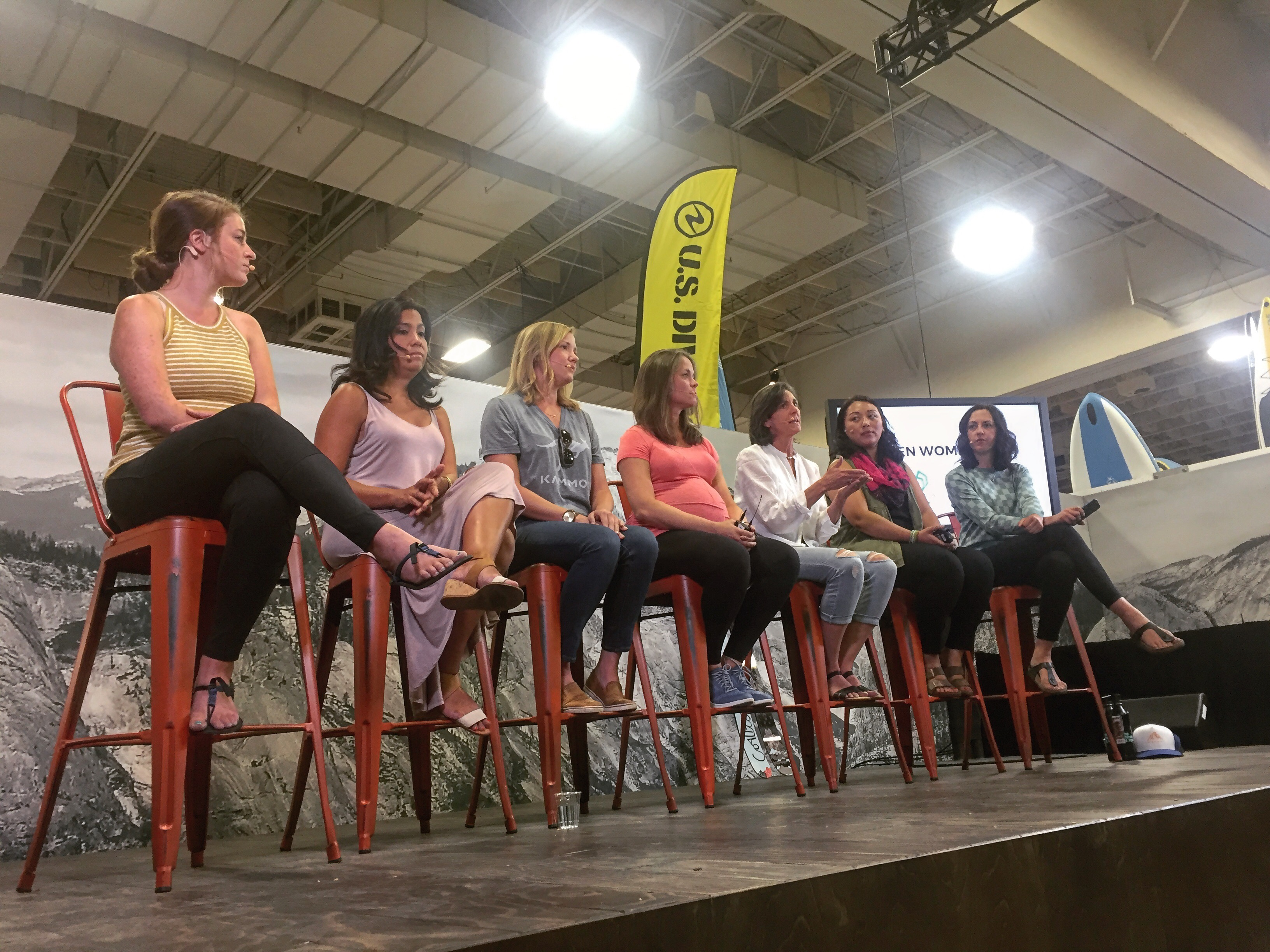 The When Women Lead panel, from left to right: Amanda Goad, founder of Wild Women's Project; Georgina Miranda, CEO of Altitude Seven; Haley Robison, CEO of Kammok; Heather Rochfort, founder of JustAColoradoGal.com; Jennifer Vierling, co-founder of Tailwind Nutrition; Tsedo Sherpa-Ednalino, COO of Sherpa Adventure Gear; and Jen Gurecki, co-founder and CEO of Coalition Snow. [Photo] Emma Murray
