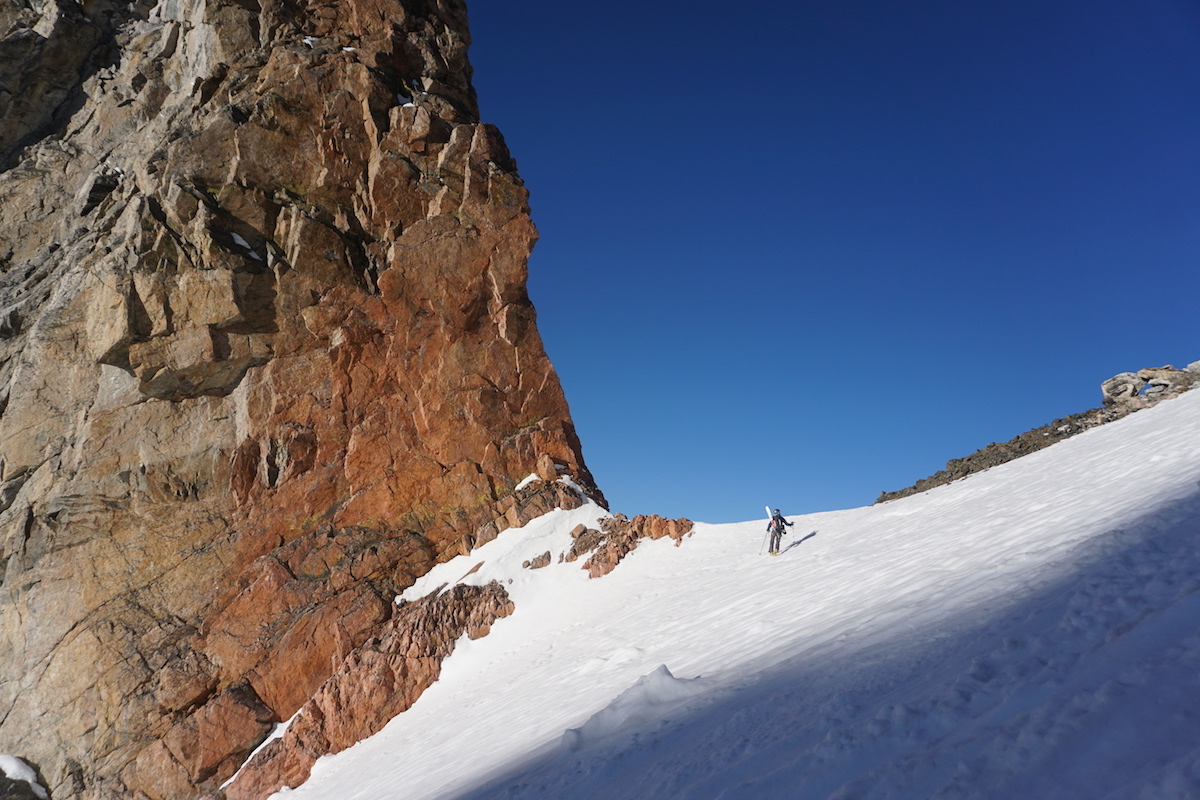 John Easterling makes his way up to Teepee Col on the Grand Teton with the Patagonia Ascensionist backpack. [Photo] John Easterling collection
