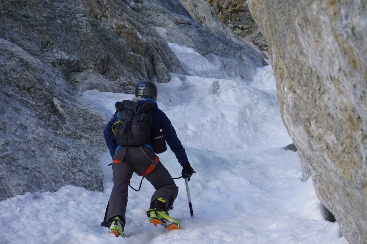 John Easterling enters the bottom of the Stettner Couloir on his way up the Grand Teton. [Photo] John Easterling collection