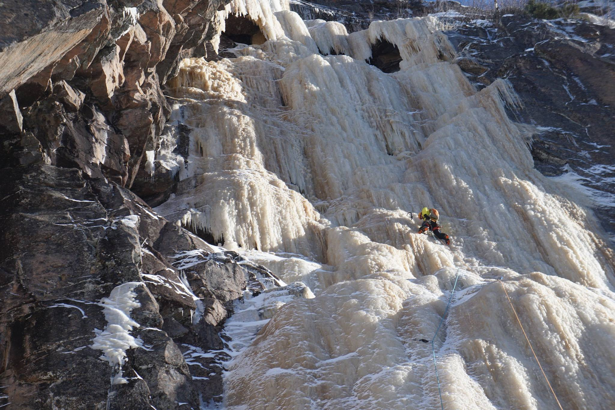 J.P. Belanger climbing at -40F on another Beaudet classic called La Goulotte de M. Felix. [Photo] Pete Takeda