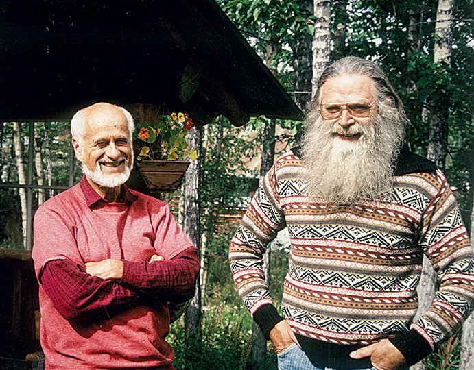 Edward LaChapelle and Austin Post in 1995. Glacier Ice continues to influence current photographers' efforts to document climate change. [Photo] Courtesy Ananda Foley
