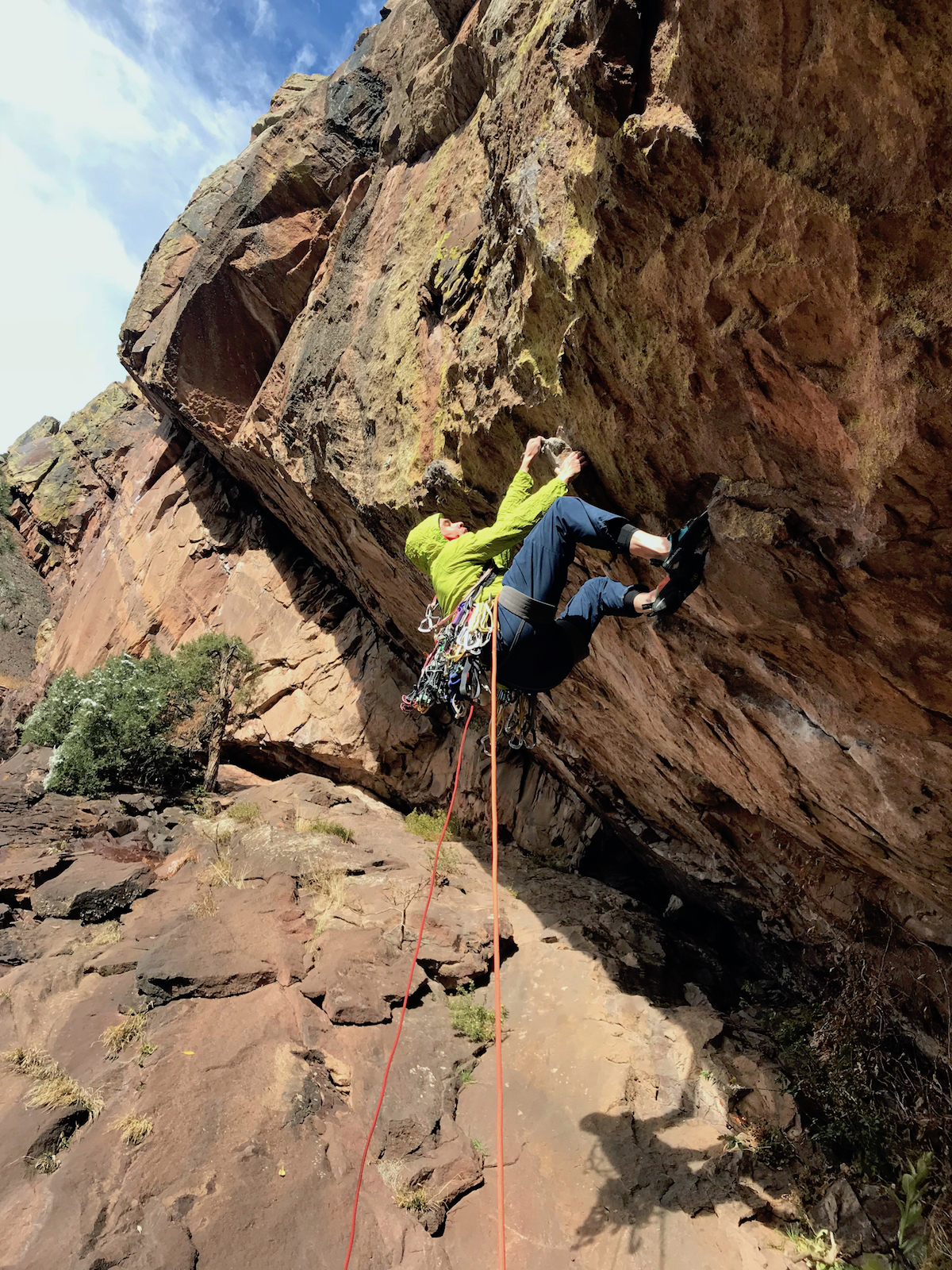 Josh Wharton starts up T2 to Jules Verne to the Connection pitch to a new route in Eldorado Canyon. [Photo] Chris Van Leuven