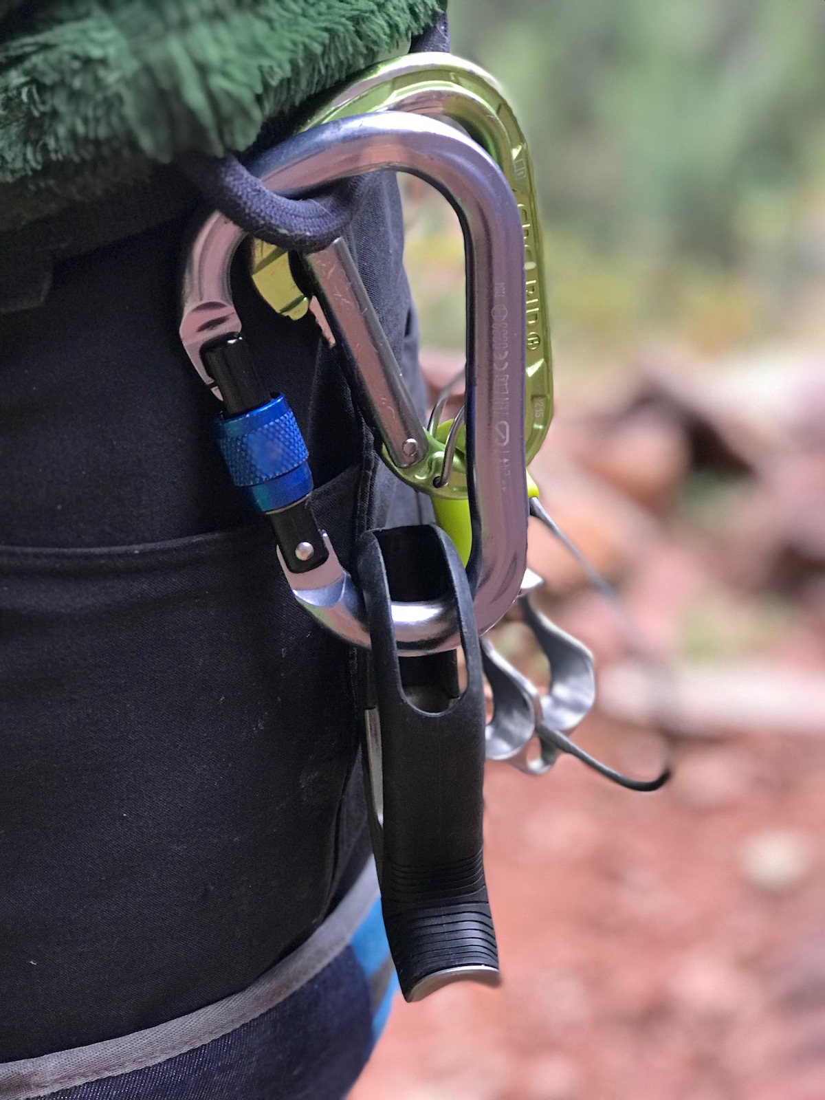 The Black Diamond ATC Pilot (foreground) racked on a harness with the Edelrid Mega Jul. [Photo] Chris Van Leuven