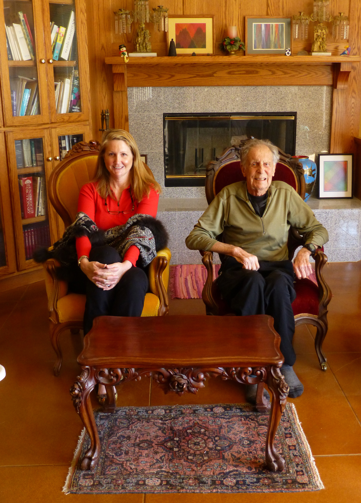 Megan Bond and Beckey in Ed Cooper's library, 2013. [Photo] Ed Cooper
