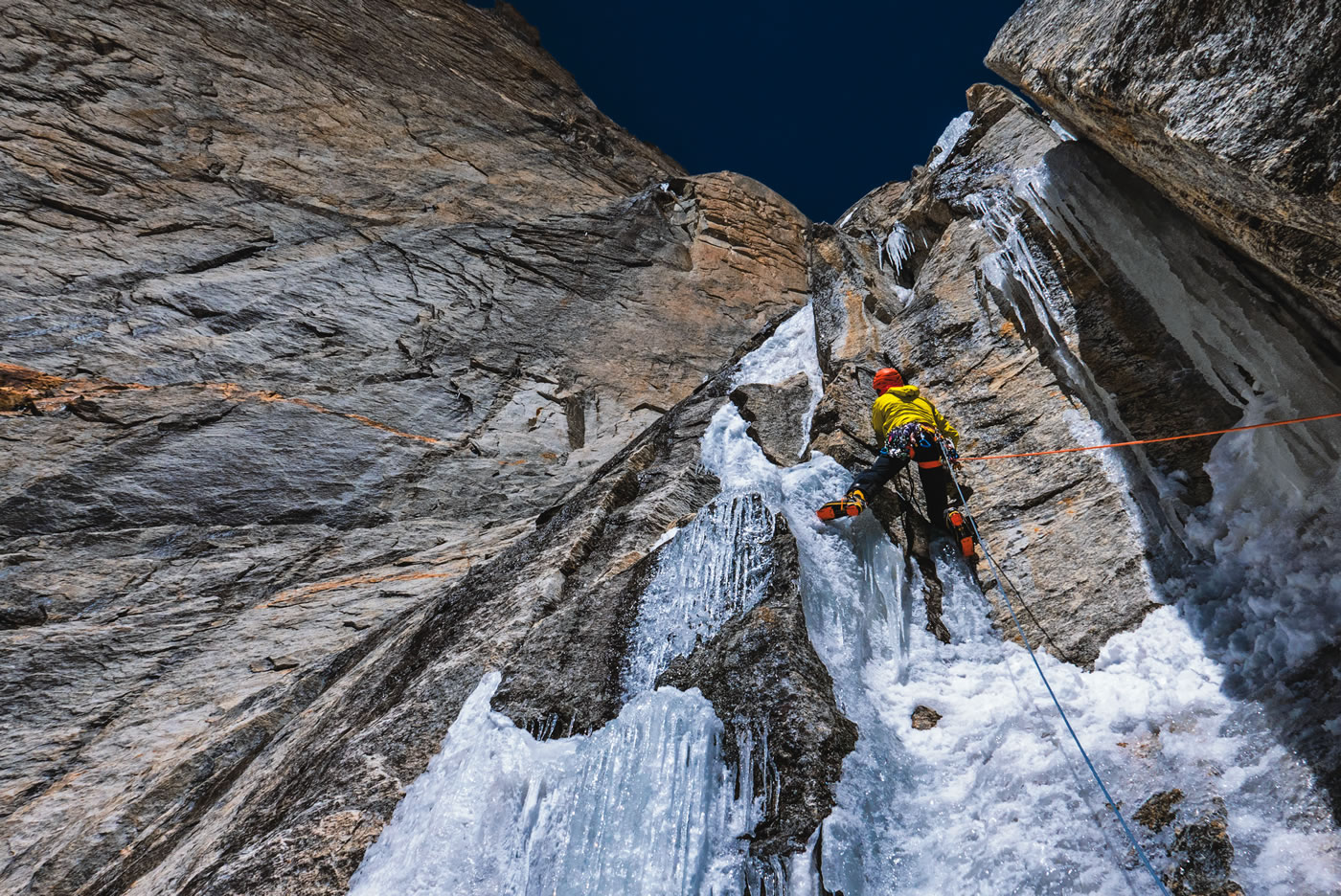 Pellissier on one of the increasingly slushy ice flows during the second day. Before Cerro Kishtwar, Prezelj, Kennedy and Novak had acclimatized by making the first ascent of the south ridge (D+, 1400m) of Chomochior (6278m). [Photo] Marko Prezelj