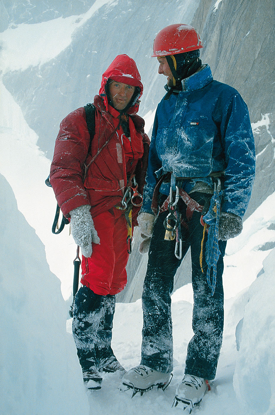 Knez and Jegli on Torre Egger (2850m), 1986, the year that they completed the first ascent of Psycho Vertical (5.11b A3 90 degrees, 900m) on the peak's south face, in a 22-hour round-trip push to the summit after fixing the first 550 meters. [Photo] Silvo Karo