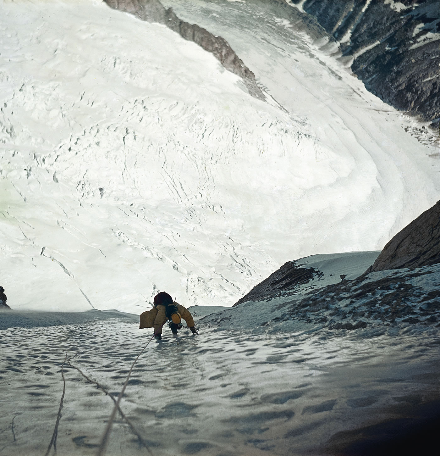 Lado Vidmar on the first ascent of the Slovenian Route on the Grandes Jorasses (4208m) with Knez, Vanja Matijevec and Joze Zupan. [Photo] Vanja Matijevec