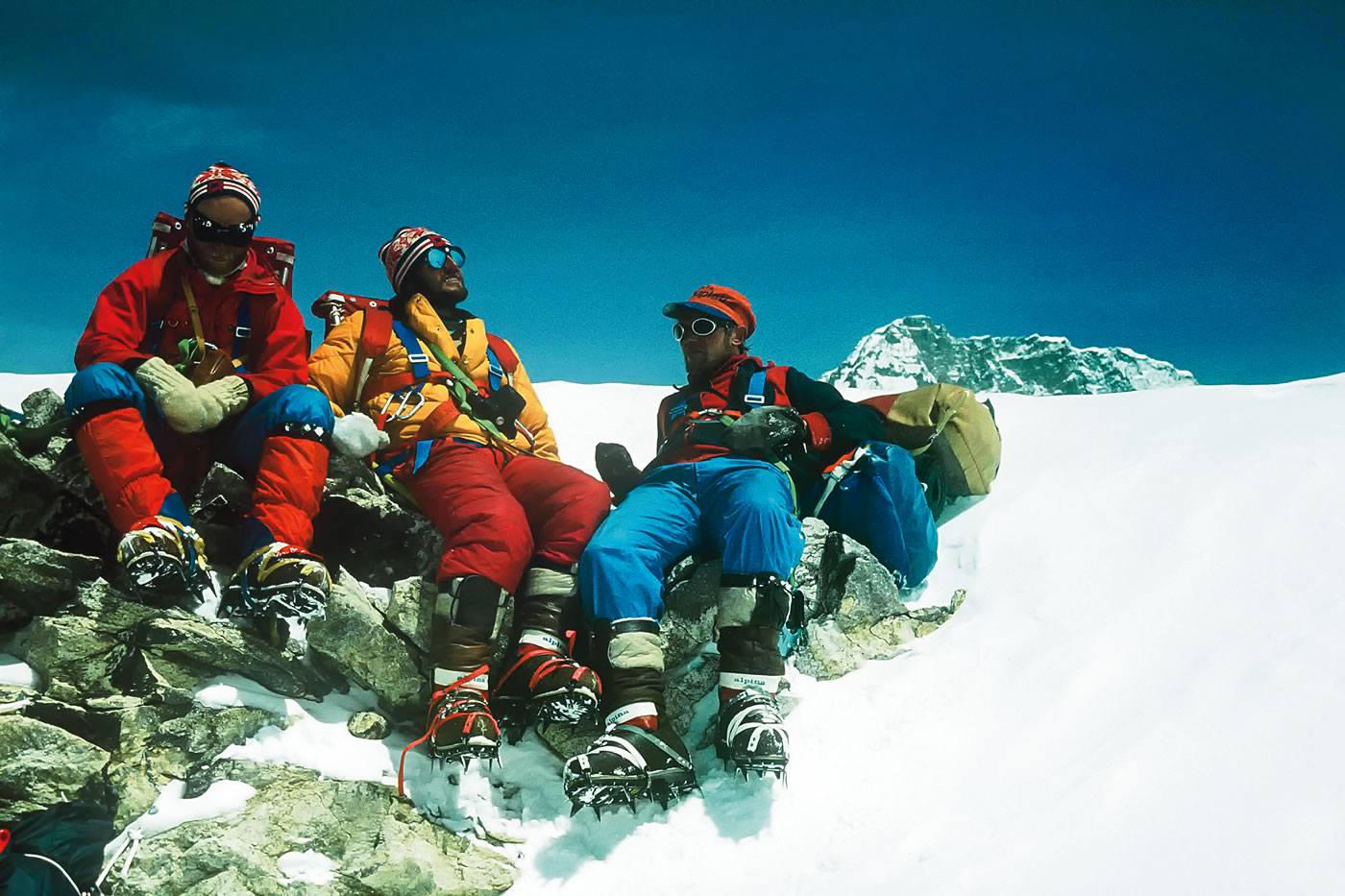 Marko Stremfelj, Marjan Manfreda and Knez during the Everest West Ridge Direct expedition. In Alpinist 27, Andrej Stremfelj wrote: Today what we did seems like madness. [Photo] Andrej Stremfelj collection