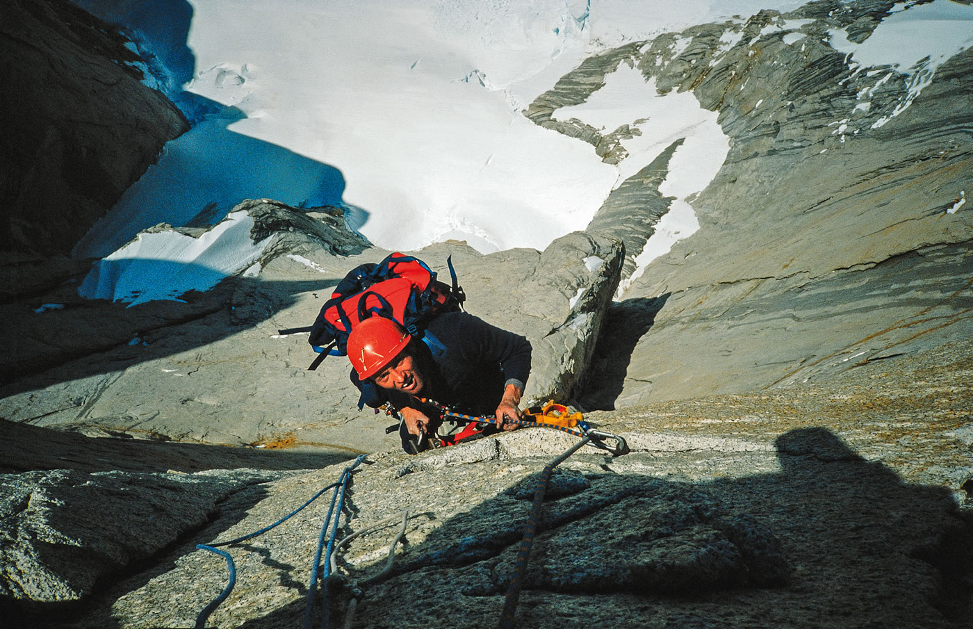 Knez on Peklenska Direttissima, Cerro Torre. Rolando Garibotti's website Pataclimb.com describes this as a very difficult line, on which no progression bolts were placed and only 5 bolts were placed for belays. [Photo] Silvo Karo
