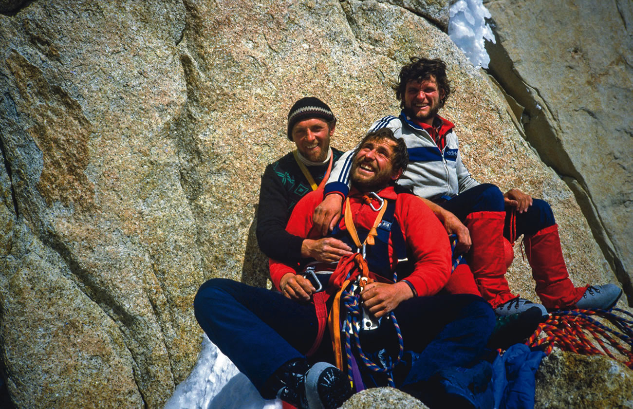 The Three Musketeers—Knez, Karo and Jegli—on Fitz Roy, 1983, when they made the first ascent of Hudieva Zajeda, a line that ends at a high col at the junction with the Casarotto Route. It awaits a second ascent and a first integral ascent to the summit. [Photo] Silvo Karo