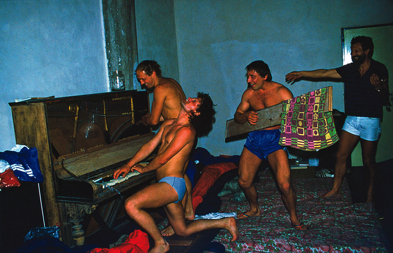 The Musketeers celebrating in Buenos Aires, after the first ascent of Peklenska Direttissima. This photo appeared in Alpinist 6 as part of A Climber's Life by Pavle Kozjek, a talented Slovenian alpinist who died on Pakistan's Muztagh Tower (7284m) in 2008. [Photo] Pavle Kozjek