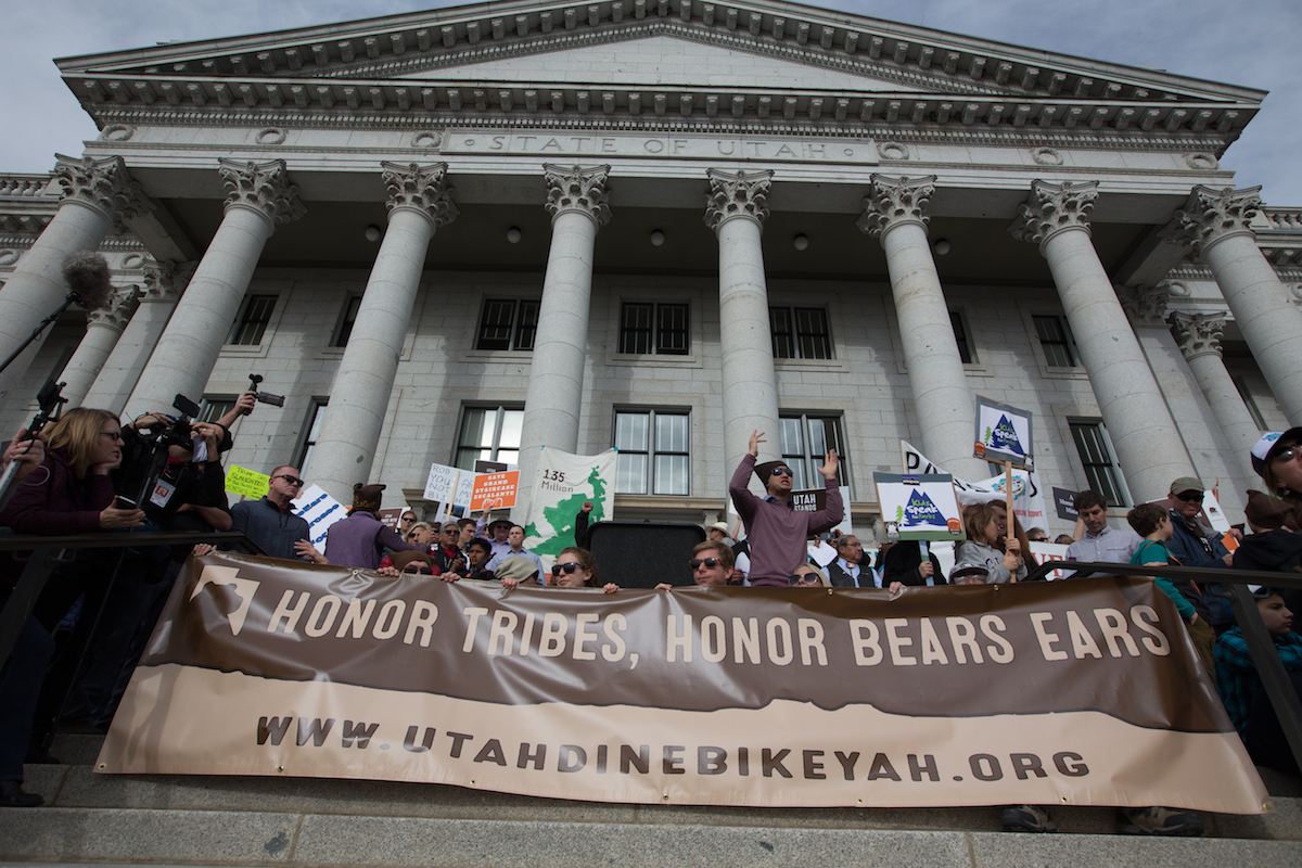 Rallies in support of the monument were held at the Utah State Capitol before and during President Donald Trump's announcement and proclamations on December 4. [Photo] Courtesy of Bears Ears Inter-Tribal Coalition