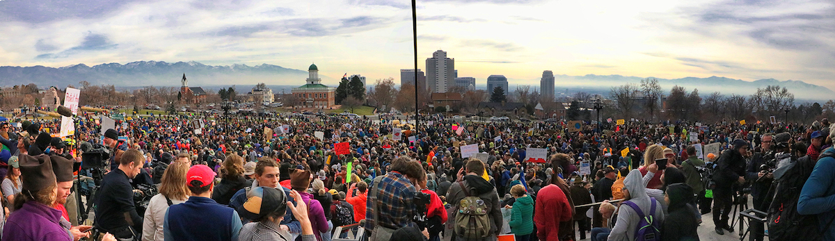 One of the rallies in support of the monuments held at the Utah State Capitol. [Photo] Marc Coles-Ritchie, courtesy of Bears Ears Inter-Tribal Coalition