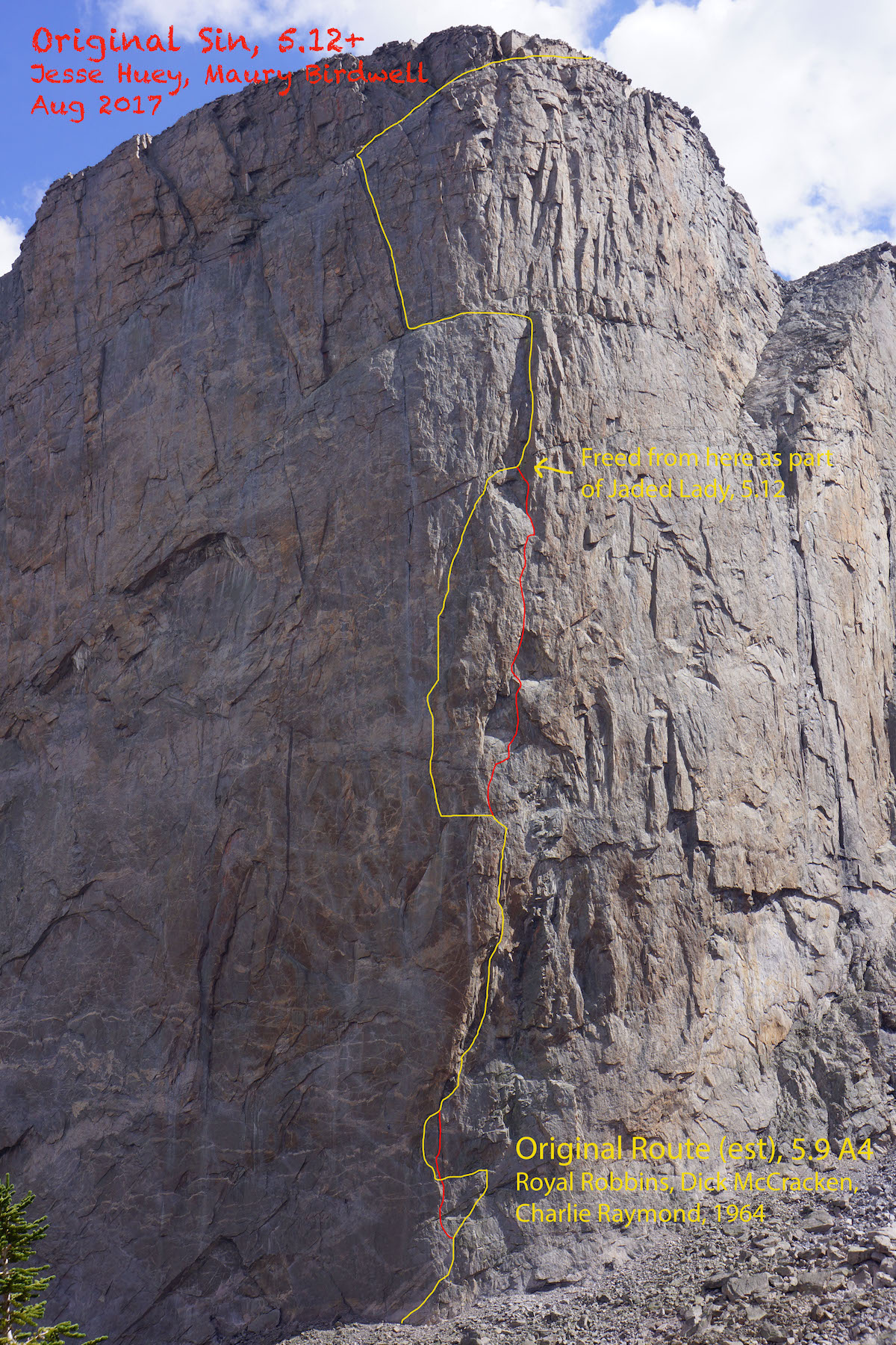 The yellow line shows the Original Route and the red lines mark the free variations of Original Sin. A route description and topo can be found here on MountainProject.com. [Image] Maury Birdwell