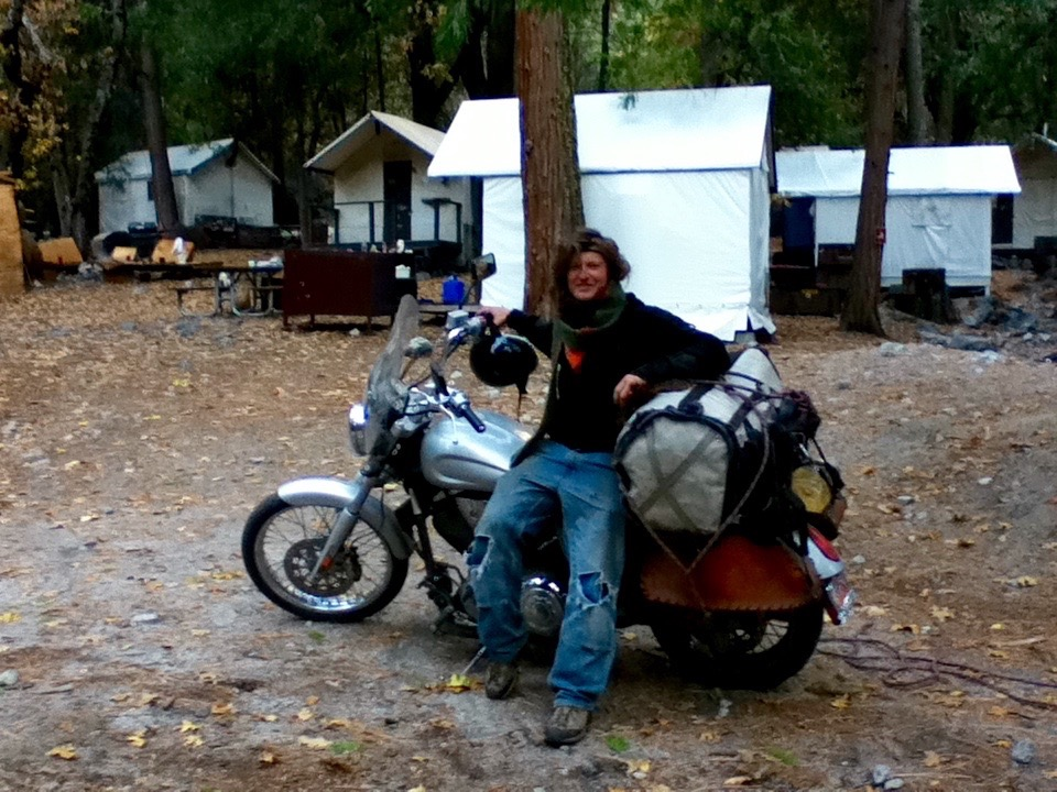 Niels with his motorcycle and haulbag, late 2011. [Photo] Chris Tietze