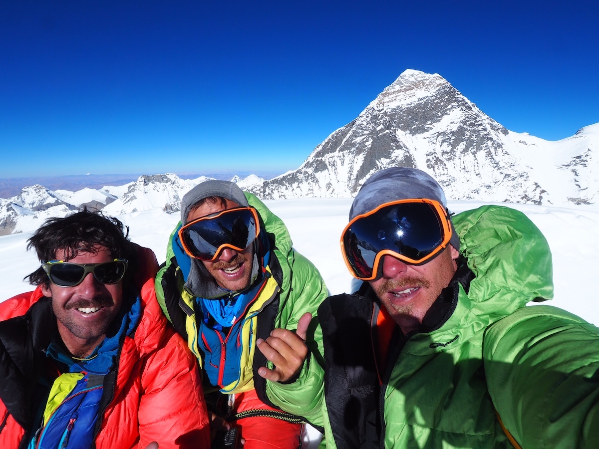 On the summit, from left to right: Helias Millerioux, Benjamin Guigonnet, Frederic Degoulet. [Photo] Courtesy of Helias Millerioux, Benjamin Guigonnet, Frederic Degoulet