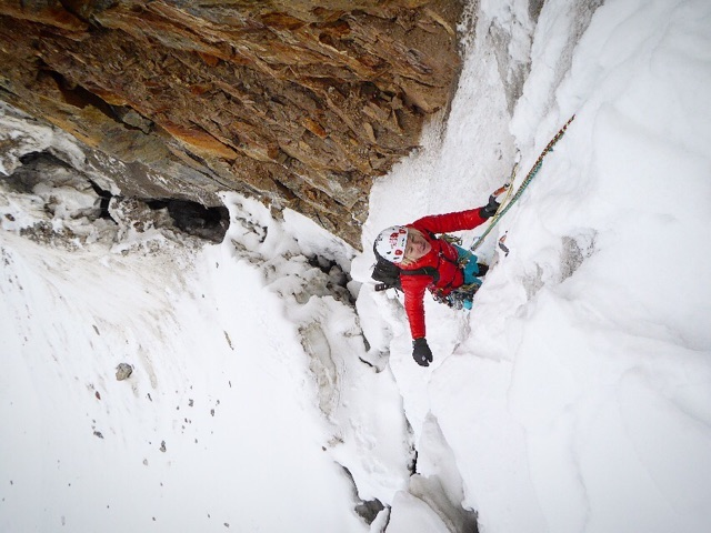 Pfaff on Peak 5750, Zanskar Range, India. [Photo] Lindsay Fixmer