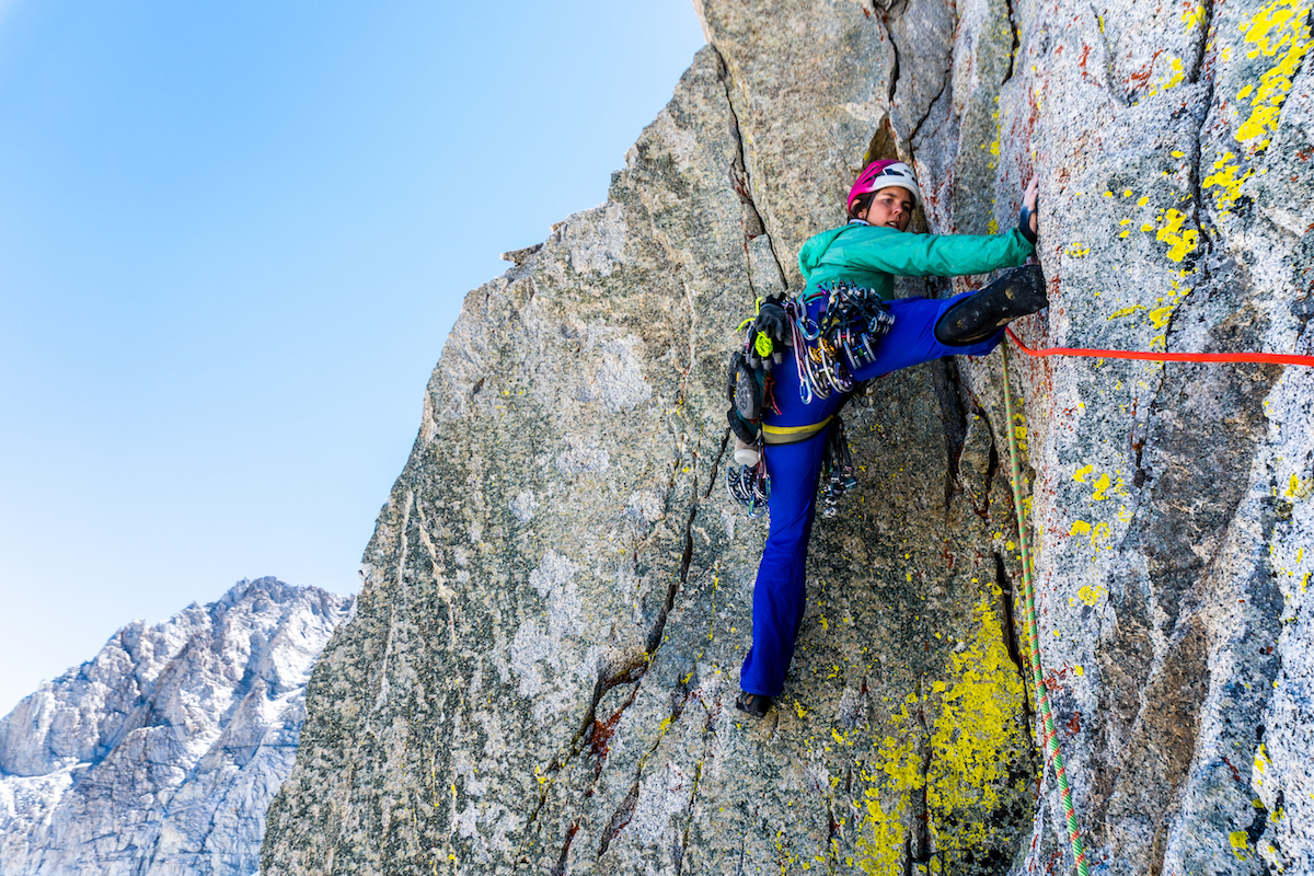 Whitney Clark explores unknown terrain on a peak above Sphinx Lake in Kings Canyon, California. [Photo] Tad McCrea