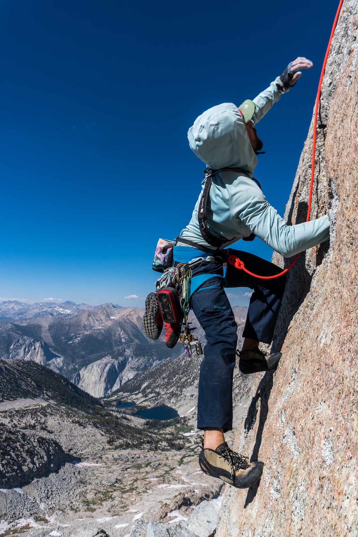Jon Griffin follows a pitch on a new route he established with the author and Tad McCrea. They called the line Jah Chosstafari on the north face of North Guard in Kings Canyon. [Photo] Tad McCrea