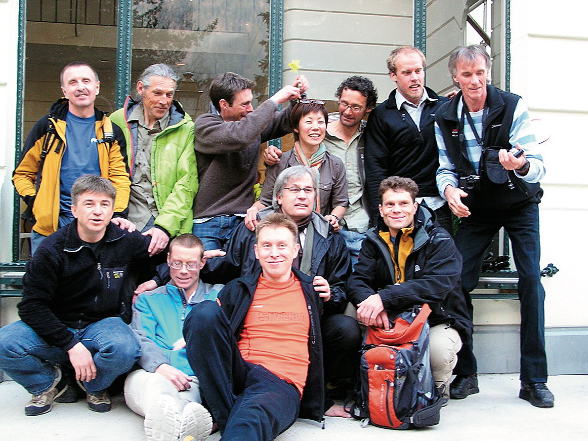 Climbers at le Majestic hotel, Chamonix, 2010. From left to right, top row: Gleb Sokolov, Jordi Corominas, Andy Houseman, Kei Taniguchi, Nick Bullock, Kyle Dempster, Lindsay Griffin. Front row: Alexander Ruchkin, Bruce Normand, Robert Schauer, Boris Dedesko, Vitaly Gorelik. [Photo] Luca Signorelli