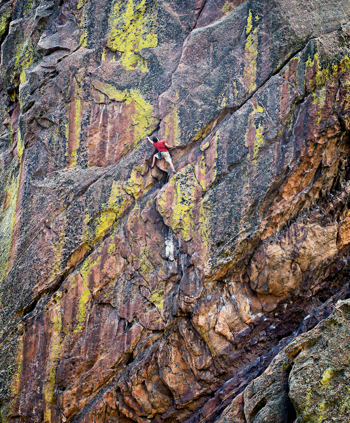 Honnold on Outer Space (5.10c), Eldorado Canyon, Colorado. Philosopher Jack Turner argues, Solo climbing is unique, a direct confrontation with the self. That purity of attention begins to be diluted as soon as you start worrying about other things. By the time you're worrying about whether your logo is being seen, it's a totally different experience.... The spirit of climbing is untranslatable into mass media. [Photo] Celin Serbo