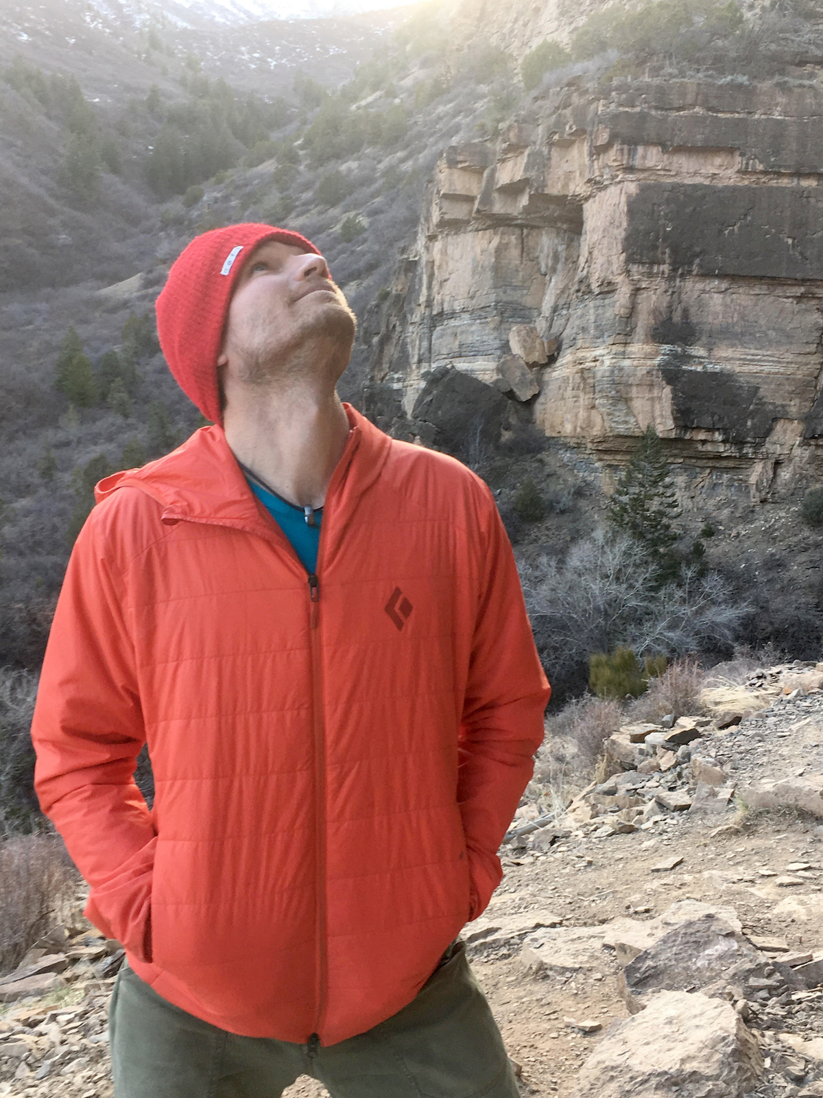 The Black Diamond Access Hoody keeps Derek Franz comfortable between climbs at Main Elk, Colorado, in early March. [Photo] Mandi Franz