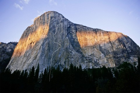 The free-climbing route of the Dawn Wall on El Capitan, which Caldwell and Kevin Jorgeson sent over a 19-day push from the ground in 2015. [Photo] Nate Ptacek