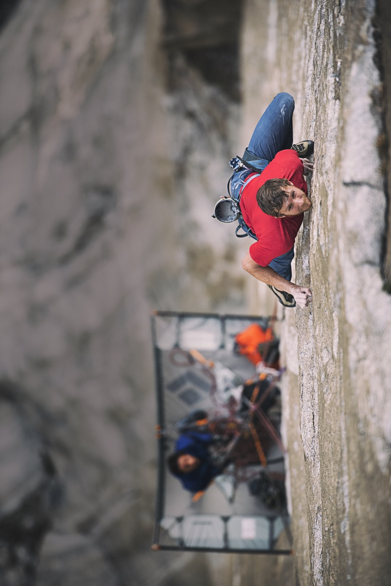Caldwell leads Pitch 19 (5.13d) on the Dawn Wall. [Photo] Corey Rich Productions