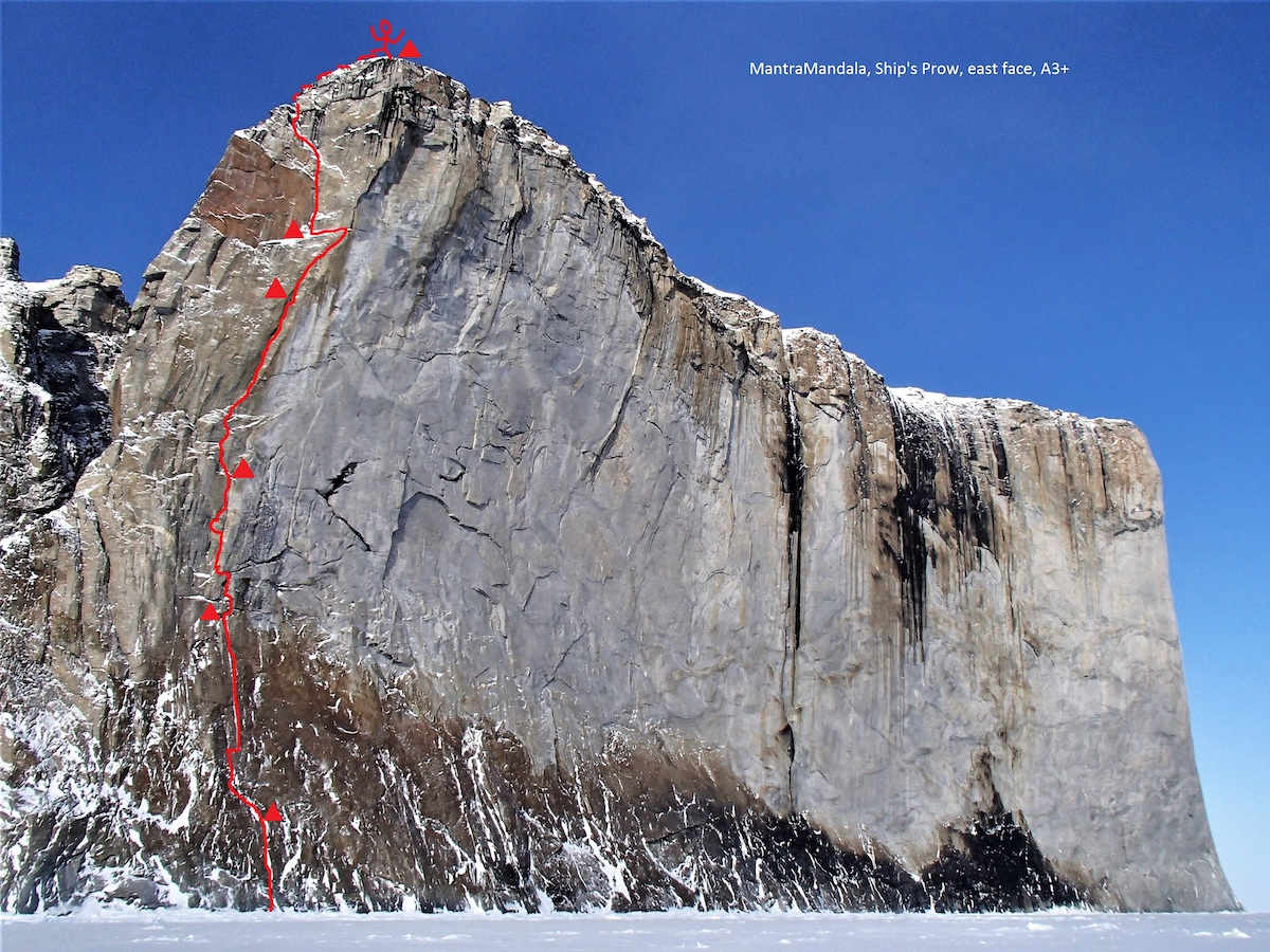 The east face of the Ship's Prow with MantraMandala (VI A3+, 450m) marked in red. [Photo] Marek Raganowicz
