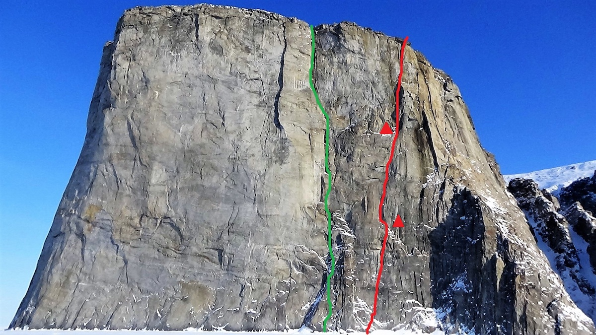 The north face of the Ship's Prow with Secret of Silence (VI A4, 600m) marked in red. Mike Libecki's 1999 route Hinayana (VI 5.8 A3+, 600m) is marked in green. [Photo] Marek Raganowicz