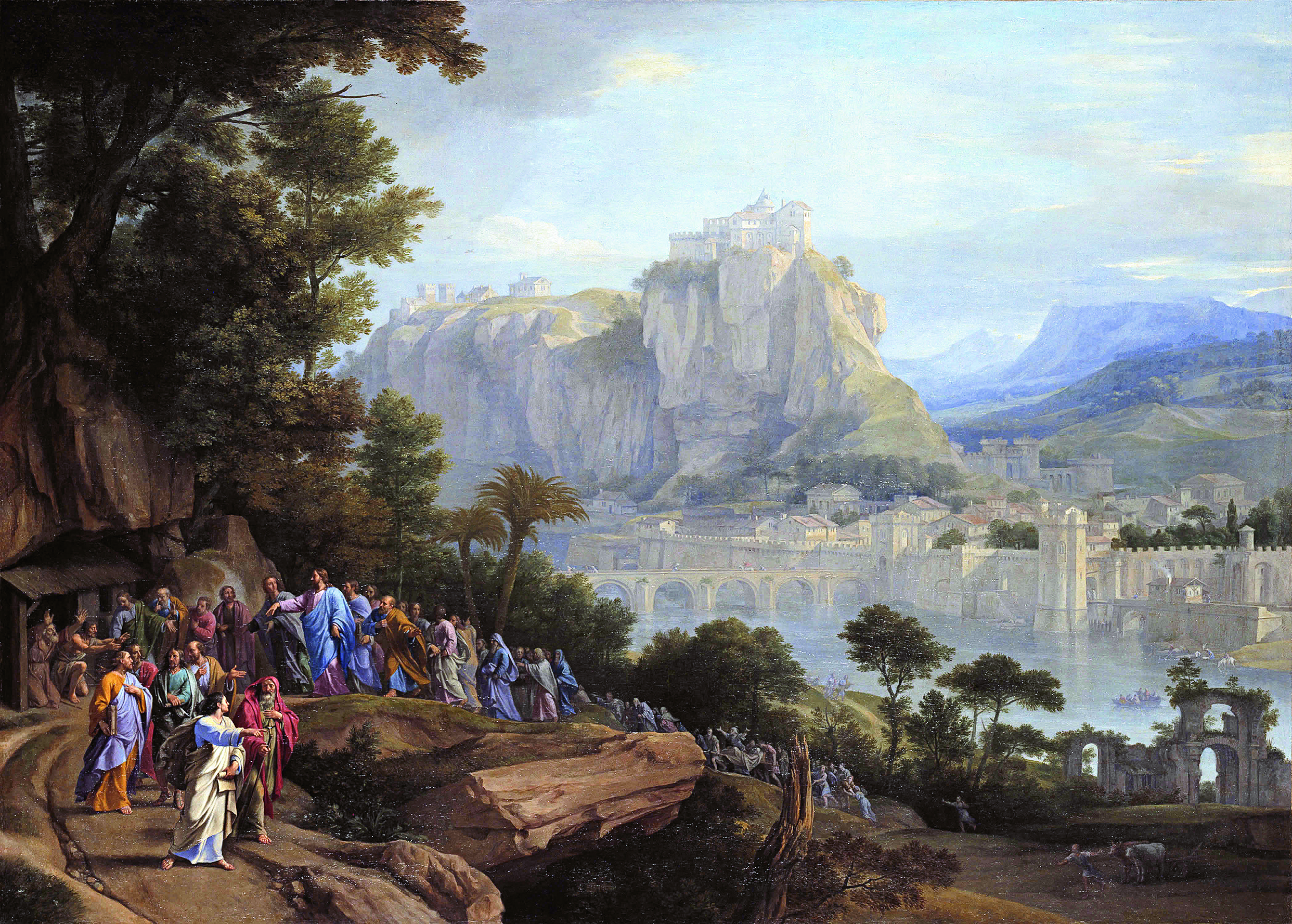 Christ Healing the Blind, painted ca. 1657. Dawn L. Hollis observes: The image depicts the healing of two blind men recounted in Matthew 20:29-34. Their first sight will be of the mountainous vista that dominates the canvas. [Image] Philippe de Champaigne