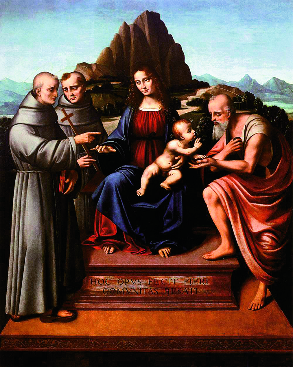 Virgin and Child Enthroned with Saints, ca. 1524. Hollis notes, The stylized mountain directly behind the Holy Pair almost appears to be an extension of their throne, with more naturalistic mountains also prominent in the background. [Image] Marco d'Oggiono