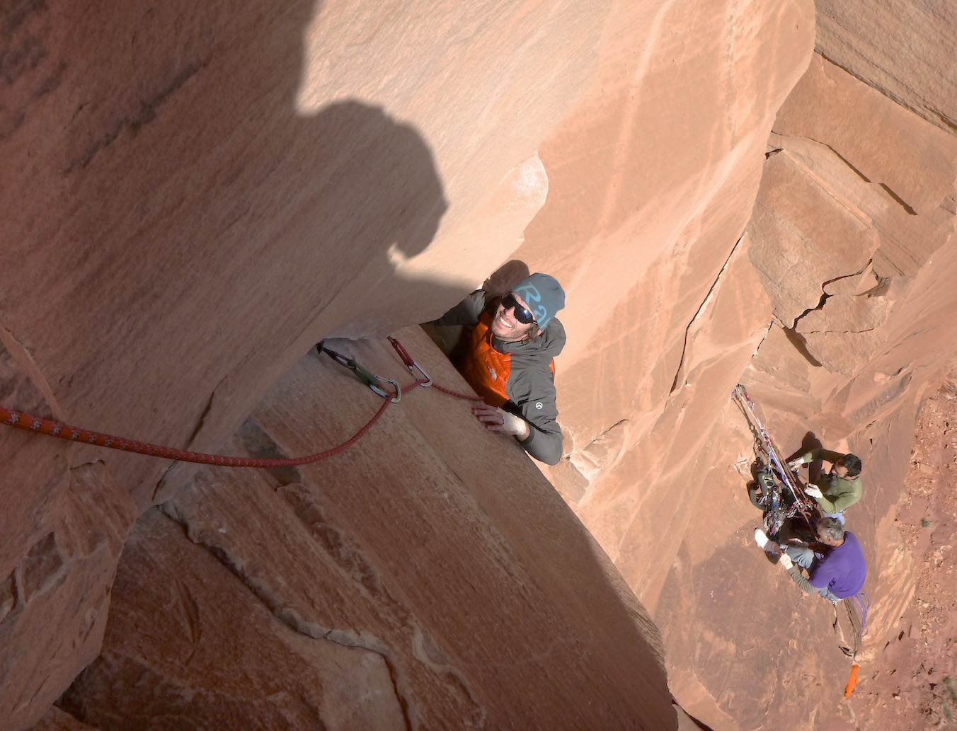 Steve Dilk follows Pitch 2 of Lightning Bolt Cracks (5.11-, 300') on North Six Shooter, 2013. [Photo] Derek Franz