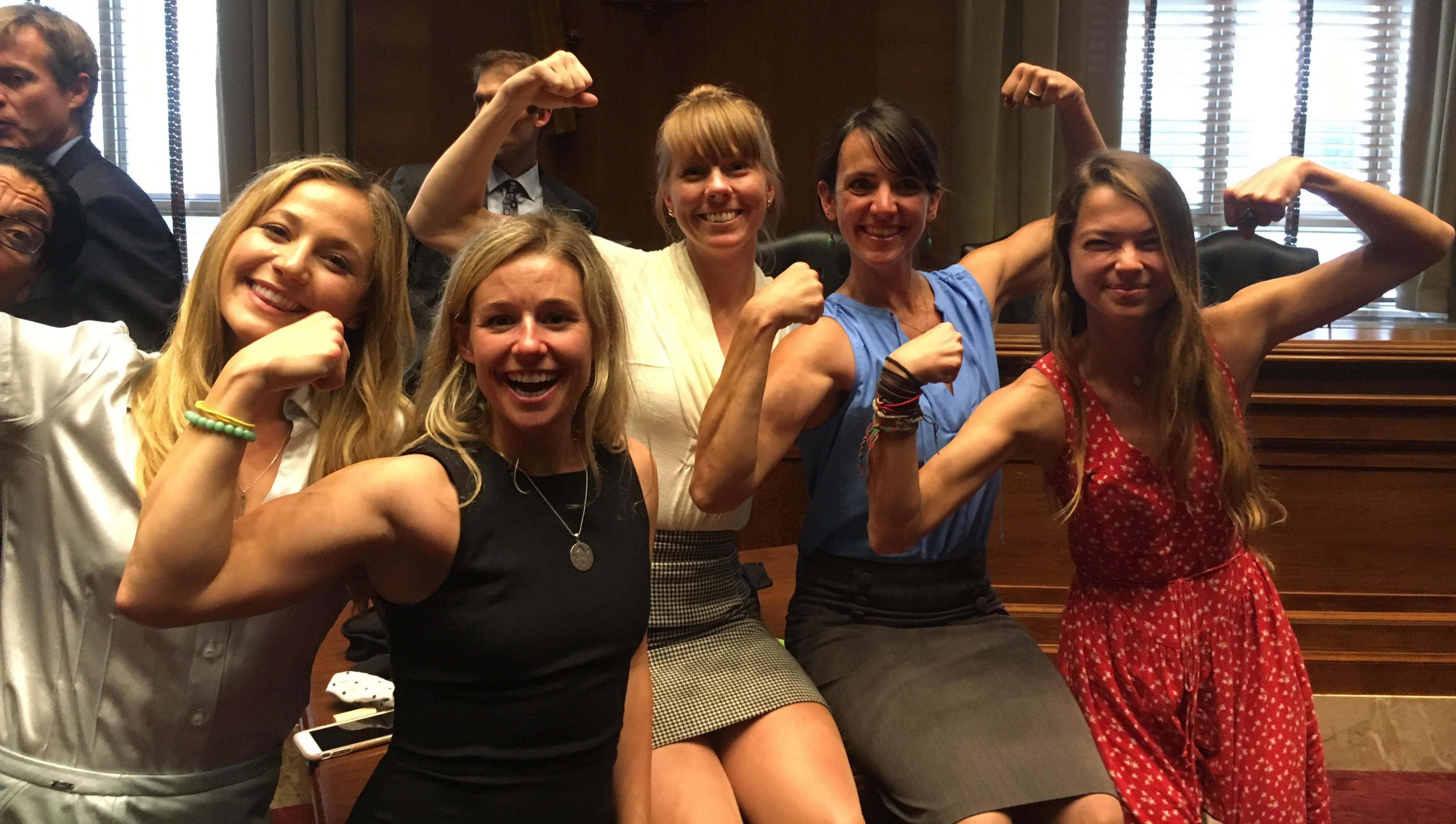 Female climbing representatives display their power after a successful day on Capitol Hill. From left to right are Sasha DiGiulian, Caroline Gleich, Libby Sauter, Quinn Brett and Katie Boue. [Photo] Derek Franz
