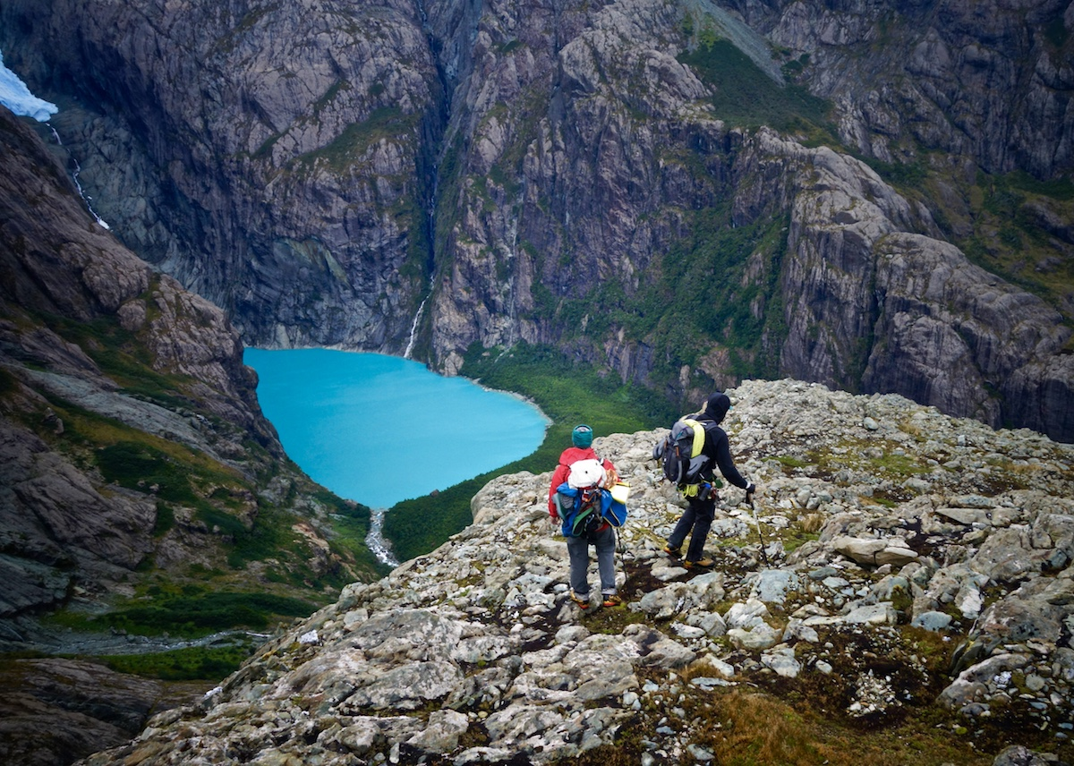 McCrea and Griffin hike down the ridge after climbing the new route. [Photo] Whitney Clark